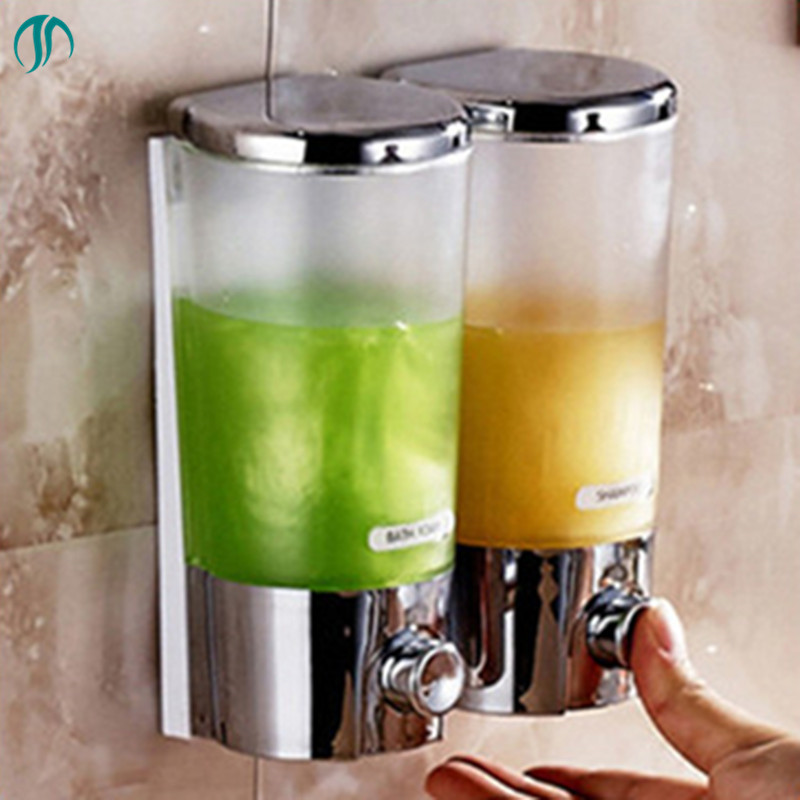 Shampoo Shower Dispenser De Savon Liquide Mural Dual Kitchen Soap Dispenser Wall Hand Liquid Soap Dispenser For Liquid Soap noble stand up collar short sleeve see through flounced white maxi dress for women