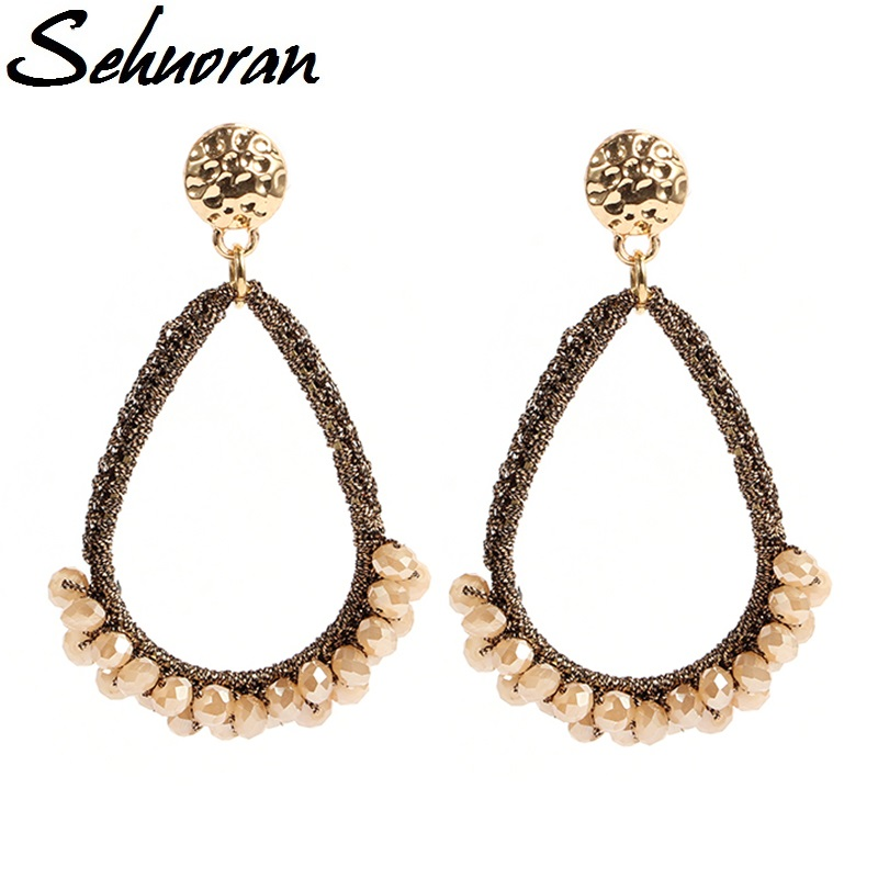 Sehuoran 2017New trendy big drop crystal earrings by handmade jewelry earrings for woman brincos bead Weaving drop long earring