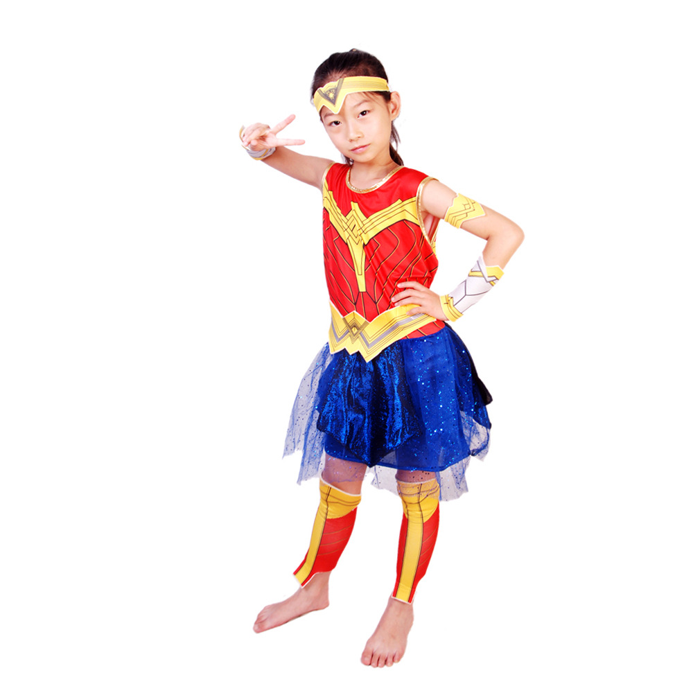 Kid Wonder Woman Cosplay Dresses Diana Prince Cos Outfit