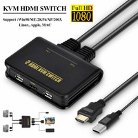 2 in 1 Dual Port HD KVM Switch HDMI Switch Support Automatic KVM USB Mouse Keyboard Switching Audio Video Cable