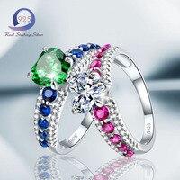 Merthus 925 Sterling Silver Heart Shape Cubic Zirconia Engagement Ring For Women