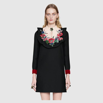 Ecombird 2018 Spring Summer Vintage Women Dresses Fashion Long Sleeve Floral Embroidery Block Diamond Dress Runway Party Vestido