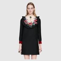 2017 Spring Summer Women Dresses Elegant Long Sleeve Stand Collar Floral Embroidery Block Diamond Dress Runway