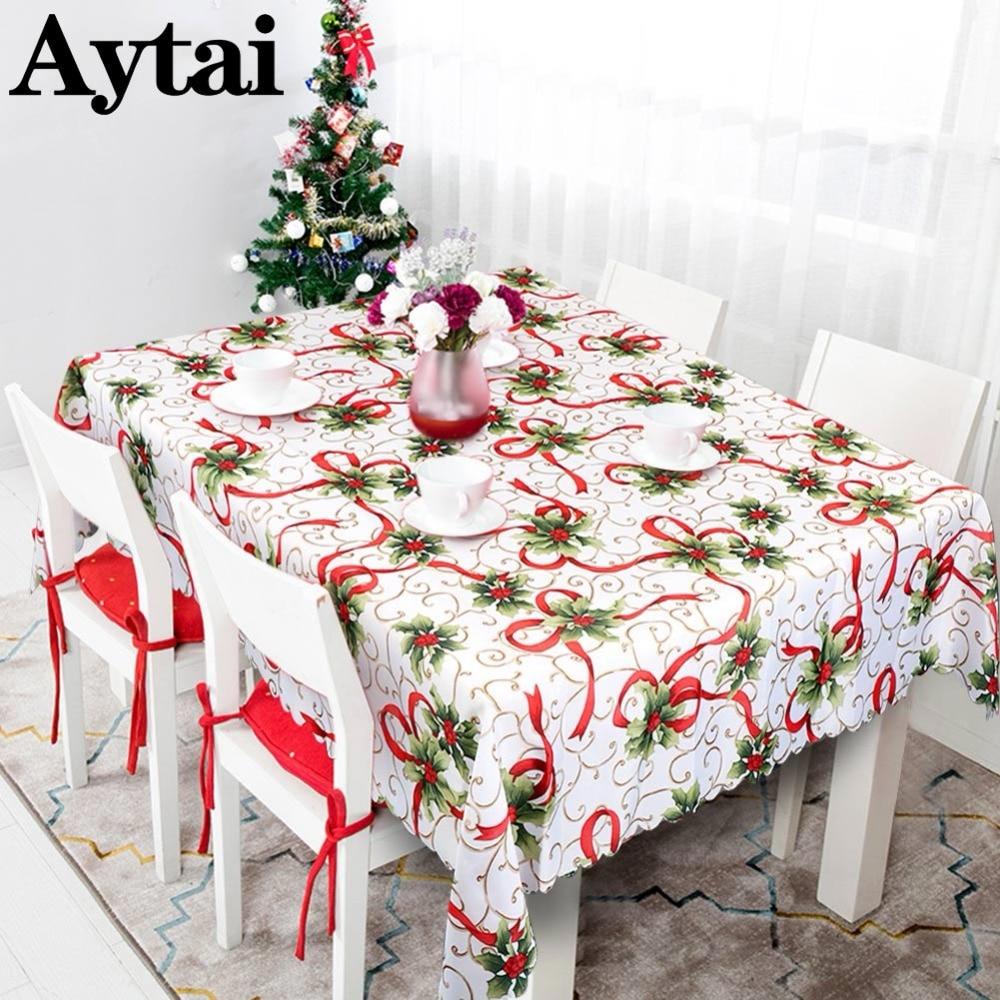 Aytai 2018 New Year Table Cloth Christmas Plastic Rectangular Table Cloth Tablecloths House Christmas Decoration 175