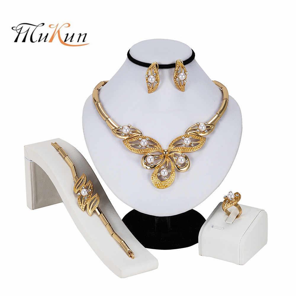 MUKUN High Quality Italy Gold Color Jewelry Set For Women african beads jewlery fashion necklcace set earring ethiopian jewelry