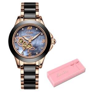 Image 5 - SUNKTA montre strass pour femmes, montre de luxe, Rose or, noir, étanche en céramique, série classique pour dames