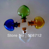 Free shipping!!!! VP10041 4 colors love heart mini vial pendant /wish pendant/ floating bottle