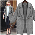 Women's Leisure Long Loose Coat Solid Color Full Sleeve Cotton Blends Casual Jacket