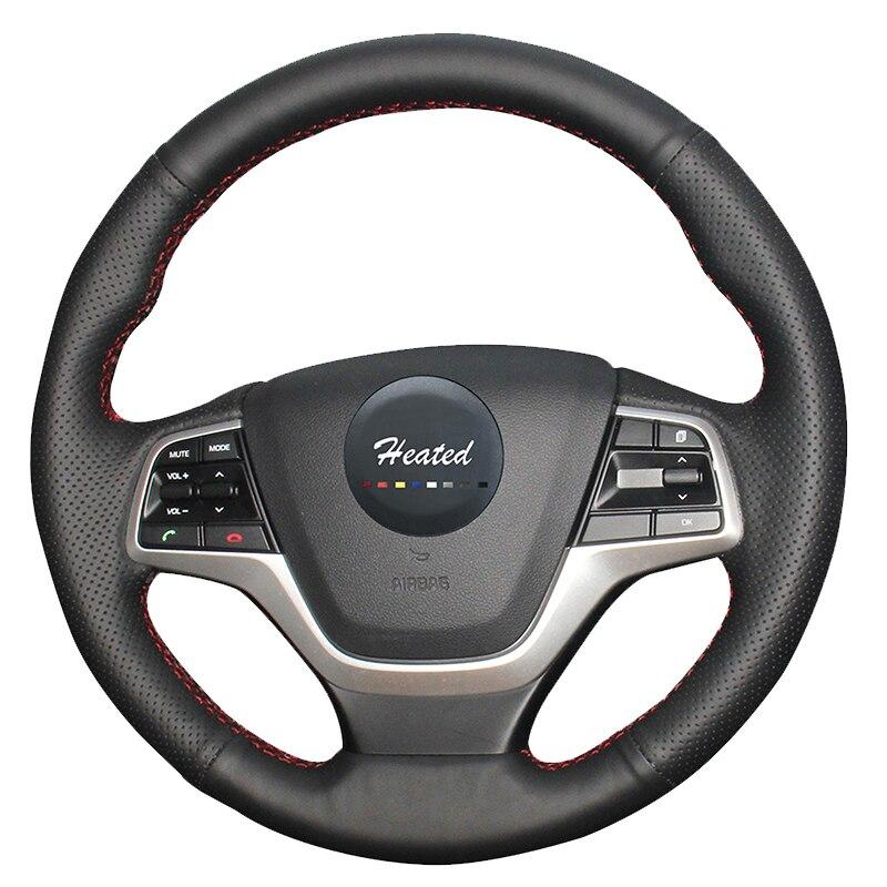 Роскошные ручной швейной машине натуральная кожа руль чехол для hyundai Elantra 4, hyundai solaris 2016 2017 Тюнинг автомобилей