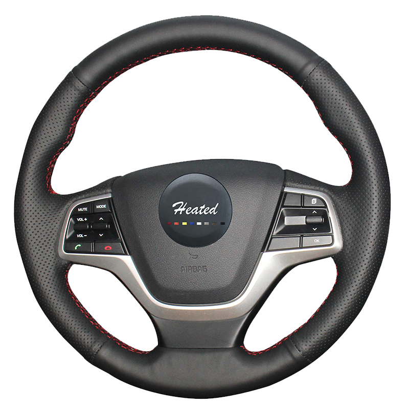 Luxury Hand Sewing Car genuine leather steering wheel <font><b>cover</b></font> for <font><b>Hyundai</b></font> Elantra 4,<font><b>Hyundai</b></font> solaris 2016 2017 car styling