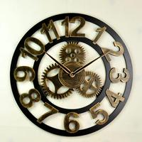 Geekcook 16 Inch Mute American Wall   Clock   Retro LOFT Art   Clock   Living Room Creative Personality Industrial Gear Wall   Clock