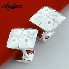 Cufflinks Shirt Silver Women for Jewelry Square Single-Button Fashion Men's