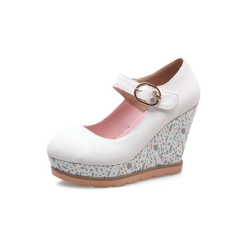 Chaussures Blanc Femmes De Mode Janes Talons Rose rose Douces Pompes Nouvelle forme Plate 2018 Mary Gris Haute Gris Dames blanc Compensées CFqgz0xZ