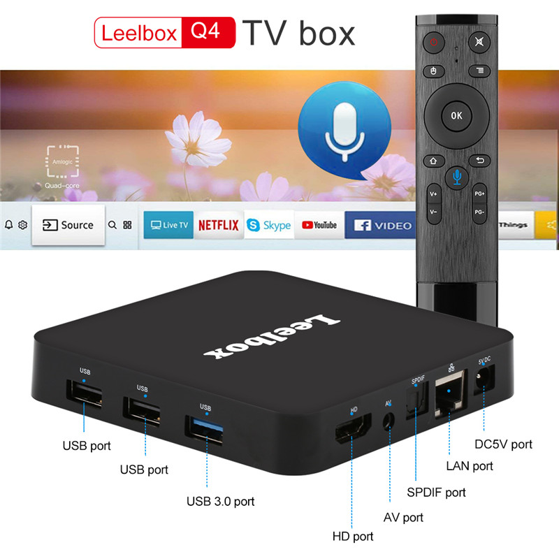 US $84 26 5% OFF|leelbox android tv box 8 1 4gb 32gb ddr3 Q4 4K android 8 1  box tv voice control remote control WiFi BT4 0 H 265 smart tv box-in