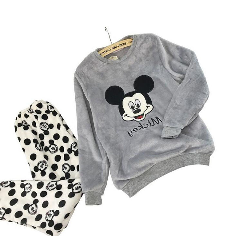 Autumn And Winter Female Thicken Coral Fleece Pajamas Korean Version Sweet Cartoon Mickey Long Sleeve Home Service Suit WHX01