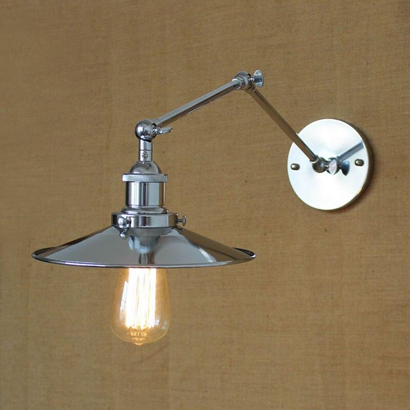 modern industrial iron fashion mechanical swing arm adjustable chrome wall lamp loft lights hallway for home - Swing Arm Lamp