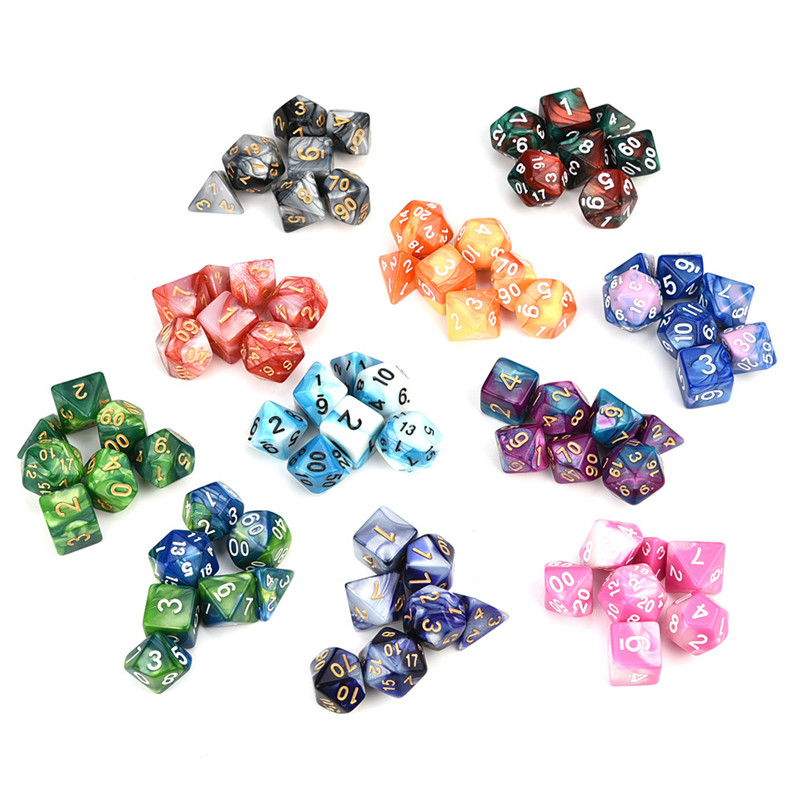 7pcs/Set Digital dice Game dices set Polyhedral D4-D20 Multi Sided Acrylic Dice gift #3o30 @Y skipping rope