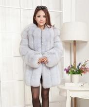 2016 Luxury Lady Fashion Genuine Natural Fox Fur Coat Jacket Winter Women  Fur Trench Outerwear Coats Long Sleeve 3XL VK1472