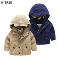 V-TREE Boys Cotton Coats Spring Baby Boys Hooded Jackets Children Casual Windbreakers Teenagers Solid Outerwears Overcoats