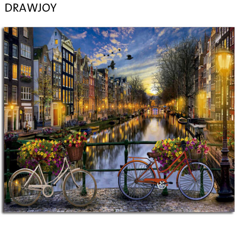 DRAWJOY Framed Landscape DIY Painting By Numbers Painting & Calligraphy DIY Digital Oi Painting By Numbers Home Decor