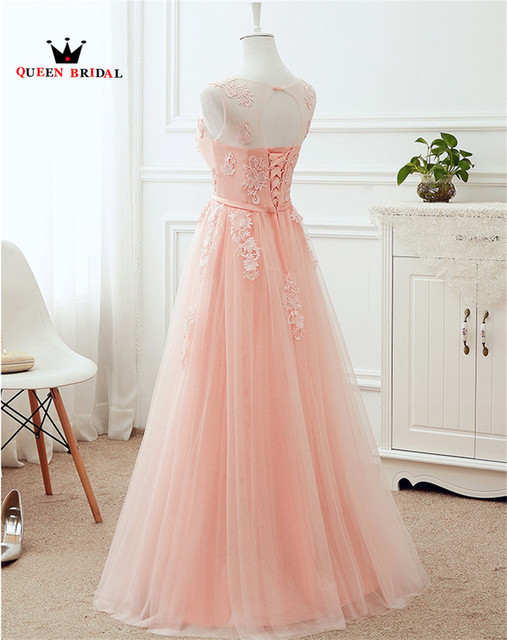 QUEEN BRIDAL Many Colors A-line Tulle Lace Long Formal Pink Evening Dresses Vestido De Festa Evening Party Prom Dress Gowns DR12