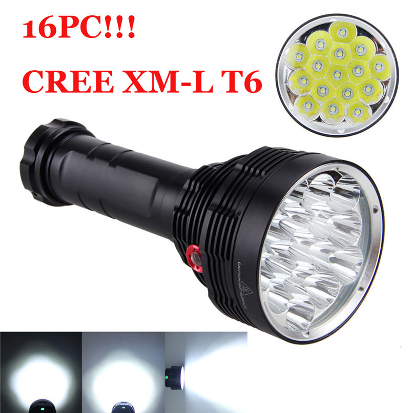 Free-Scratch Shock-Proof 38000LM 16x XM-L T6 LED Flashlight 3 Mode Torch Light Lamp Waterproof Camping Cycling Light #20 useful convenient 3 models high low sos rotating focus led flashlight torch skid proof light lamp