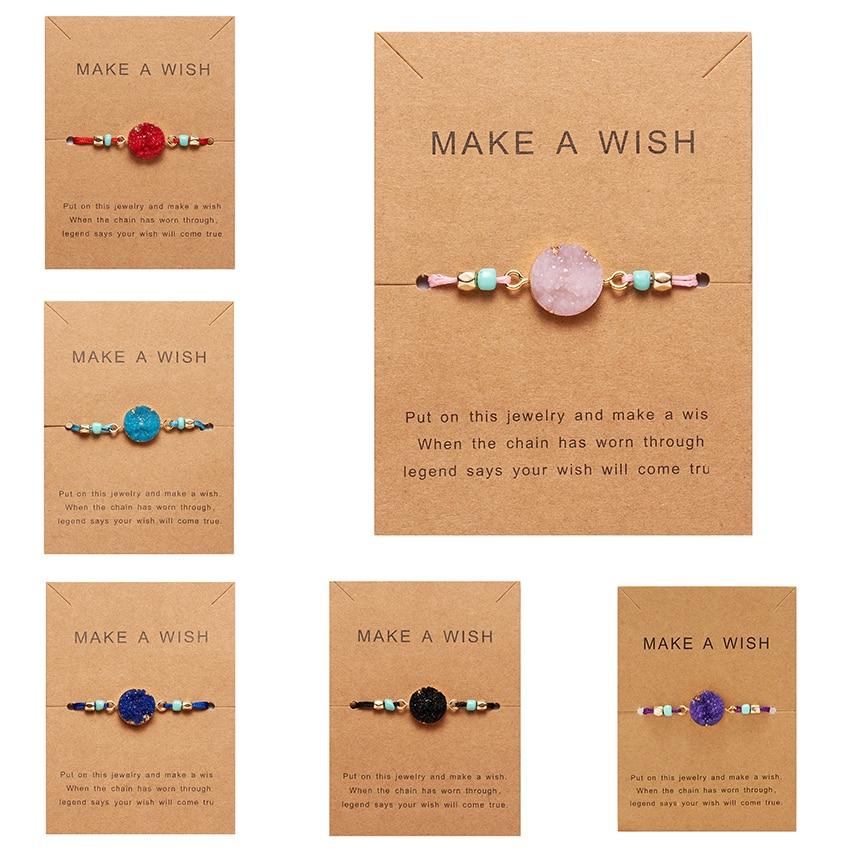 Faire souhait papier carte tissé à la main chanceux rouge chaîne Bracelet Femme multicolore pierres naturelles Bracelet pour les femmes amitié bijoux
