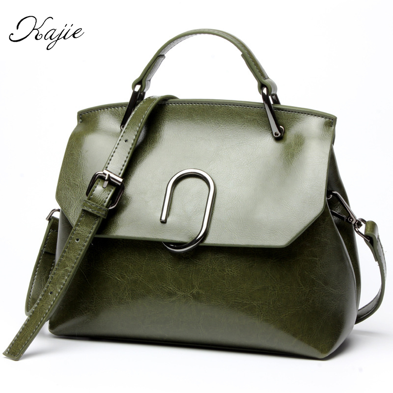 Kajie High Quality Genuine Leather Designer Totes Famous Brands Women Handbags Casual Tassel Ladies Messenger Crossbody Bags monf genuine leather bag famous brands women messenger bags tassel handbags designer high quality zipper shoulder crossbody bag