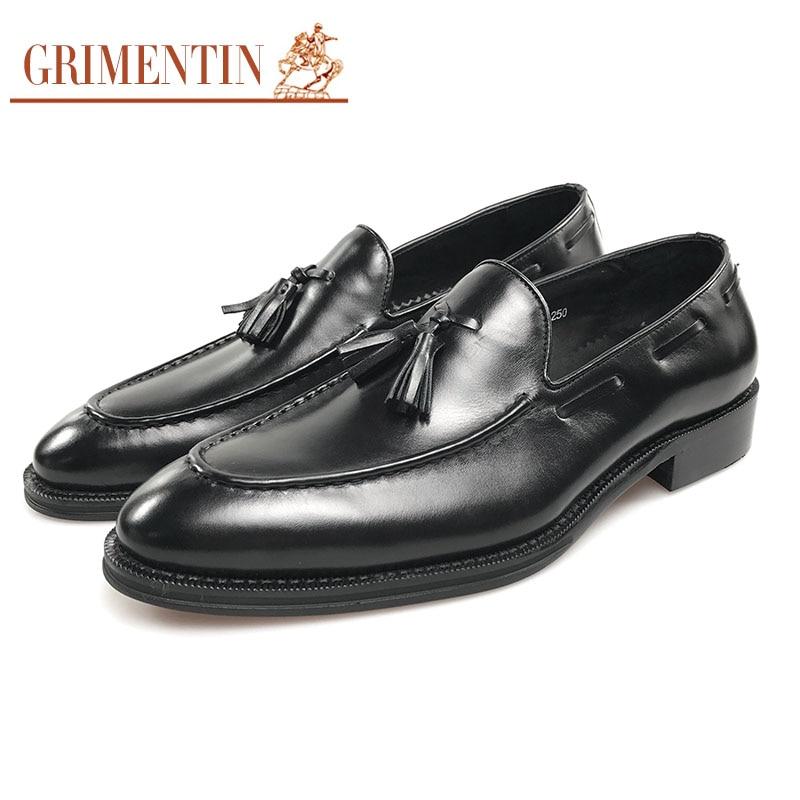 Vestido Casamento Negócios Couro Mens Formais De brown Grimentin Genuíno Luxo Sapatos Black Borla Sobre Preto Deslizar B5qFxO
