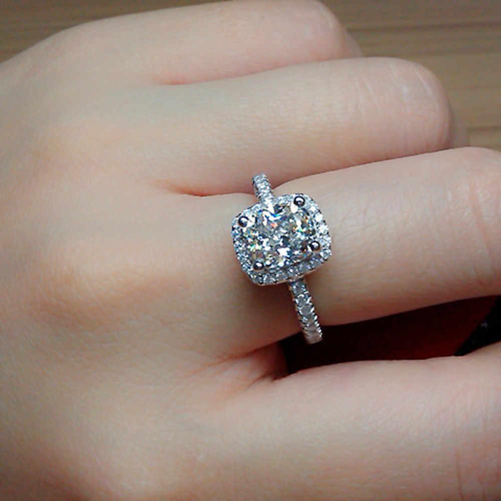 2019 Elegant สีขาวรูปไข่ Zirconia แหวนแฟชั่น CZ เครื่องประดับงานแต่งงานเงินสัญญาหมั้นแหวน Anillos Mujer