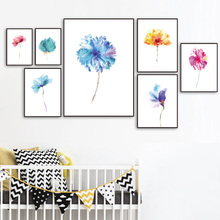 7-Space Colorful Flowers Watercolor Art Print Poster Modern Minimalism Decorative Pictures Canvas Painting For Living Room Decor