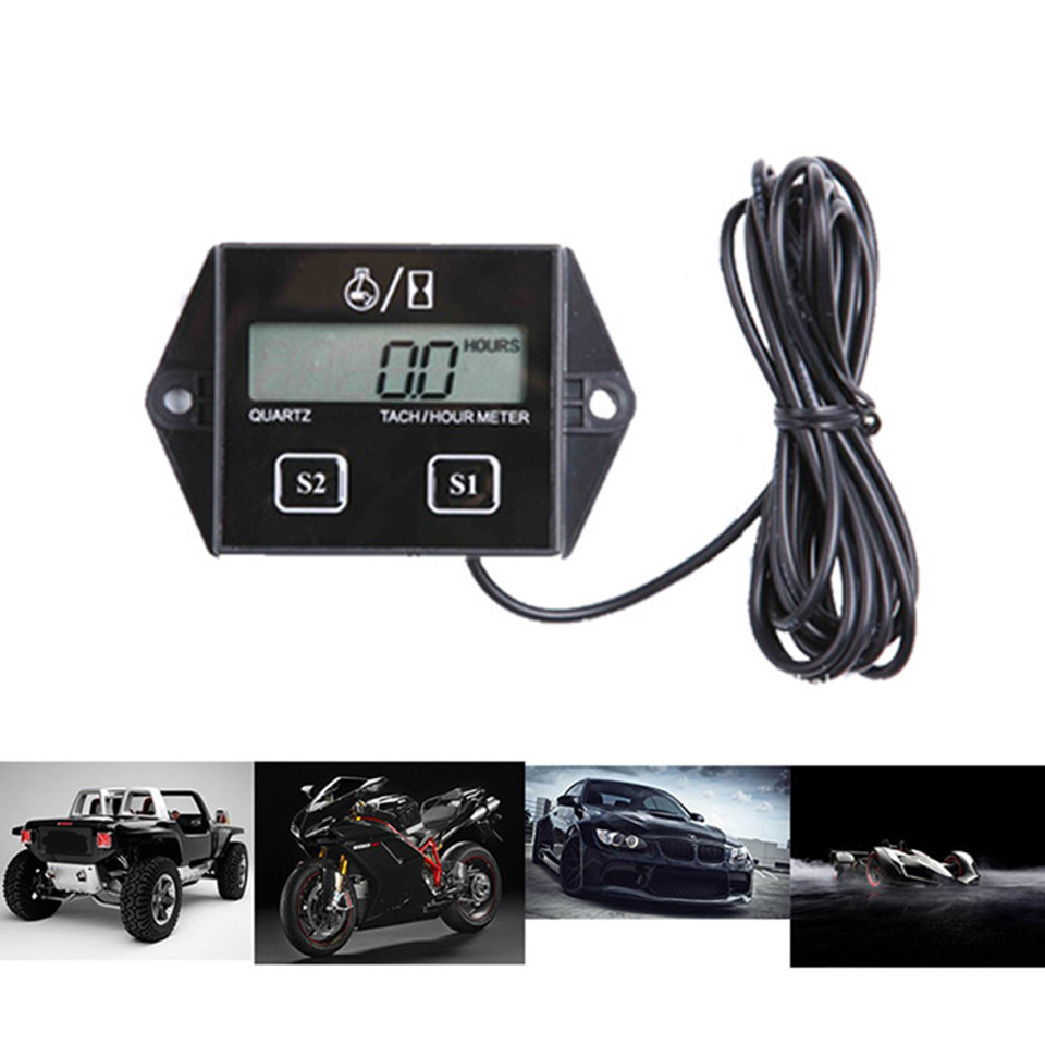 LCD Tach//Hour Meter Tachometer Gauge For 2//4 Stroke Gas Engine Motorcycle ATV