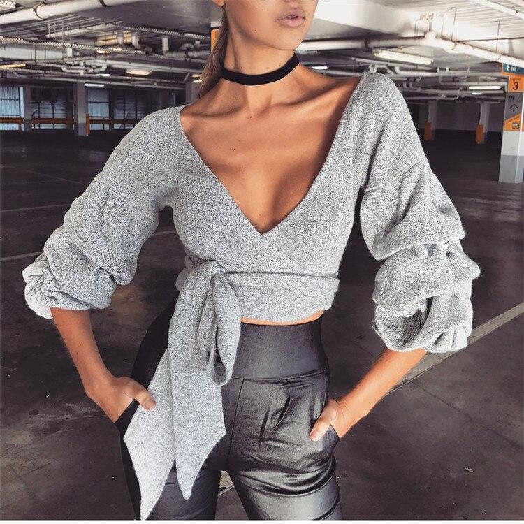 2018 fashion sexy V-neck autumn and winter warm bandage shirt bottoming shirt women's clothing (5)