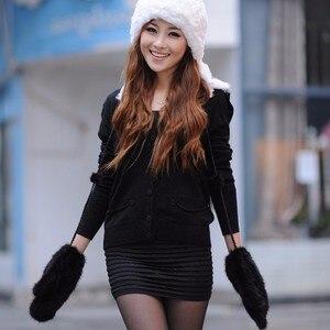 Image 5 - Guantes de invierno para mujer, manoplas de 100% piel de visón auténtica auténtico, de punto, gruesos y cálidos, para invierno