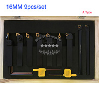 9pcs Set 16mm Hard Alloy Blade With Coating Turning Tool CNC Lathe Tool Kits Cutter Durable