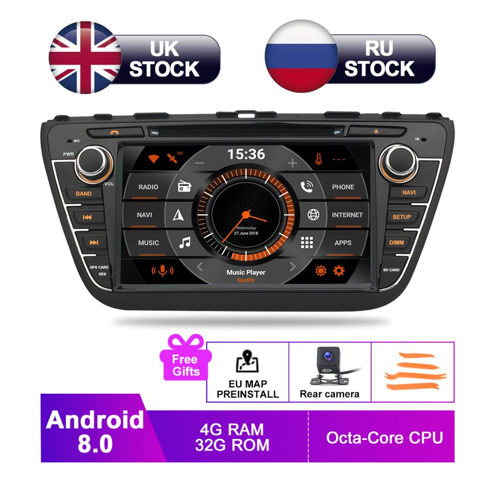 8 IPS Android 8.0 Car DVD For Suzuki SX4 S Cross 2014 2015 2016 2017 Auto Radio RDS Stereo GPS Navigation Audio Video Rear Cam
