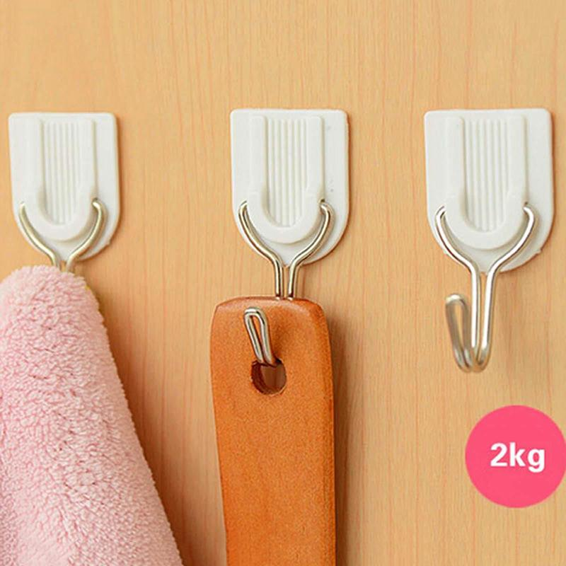 6pcs White Self-adhesive Wall Hook Hanger Plastic Sticky Door Robe Hooks Holder For Clothes Towel Coat Bathroom Kitchen