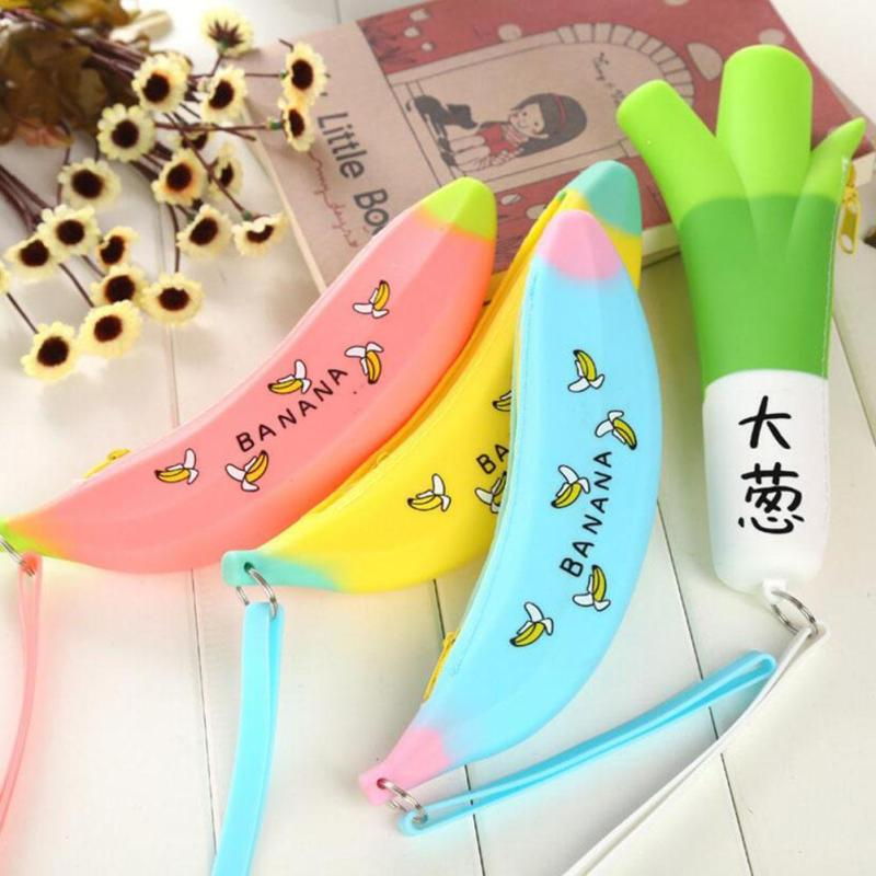 2017 Novelty Funny Coin Purses Silicone Portable Banana Coin Pencil Case Unique Purse Bag Wallet Pouch Keyring Hot Selling silicone banana shaped portable bag kawaii minions banana coin pencil case unique purse novelty banana pouch 2016 fashion
