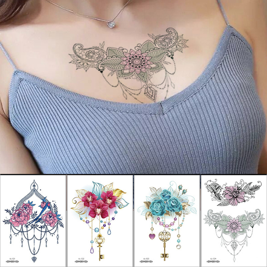 Sexy Tattoo Sticker Jewel Vintage Temporary Tattoos Henna Lace Under Breast Tattoo Necklace Fake Tatoo Fashion Girls Body Art