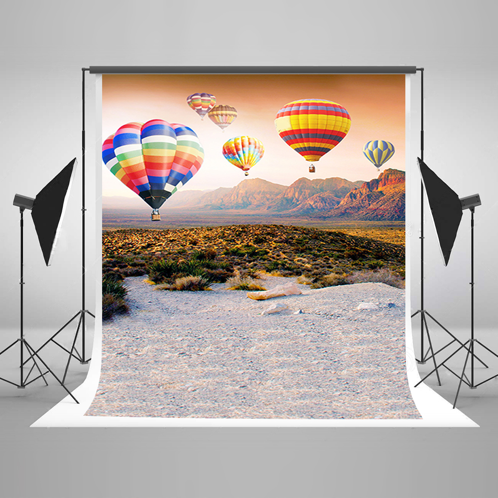 Valentine's Day Backdrops Colorful Hot Air Balloon Birthday Background Mountain Grassland Backgrounds for Photography 215cm 150cm backgrounds blossom petals colorful colorful floral scent the air tricks slim co photography backdrops photo lk 1135