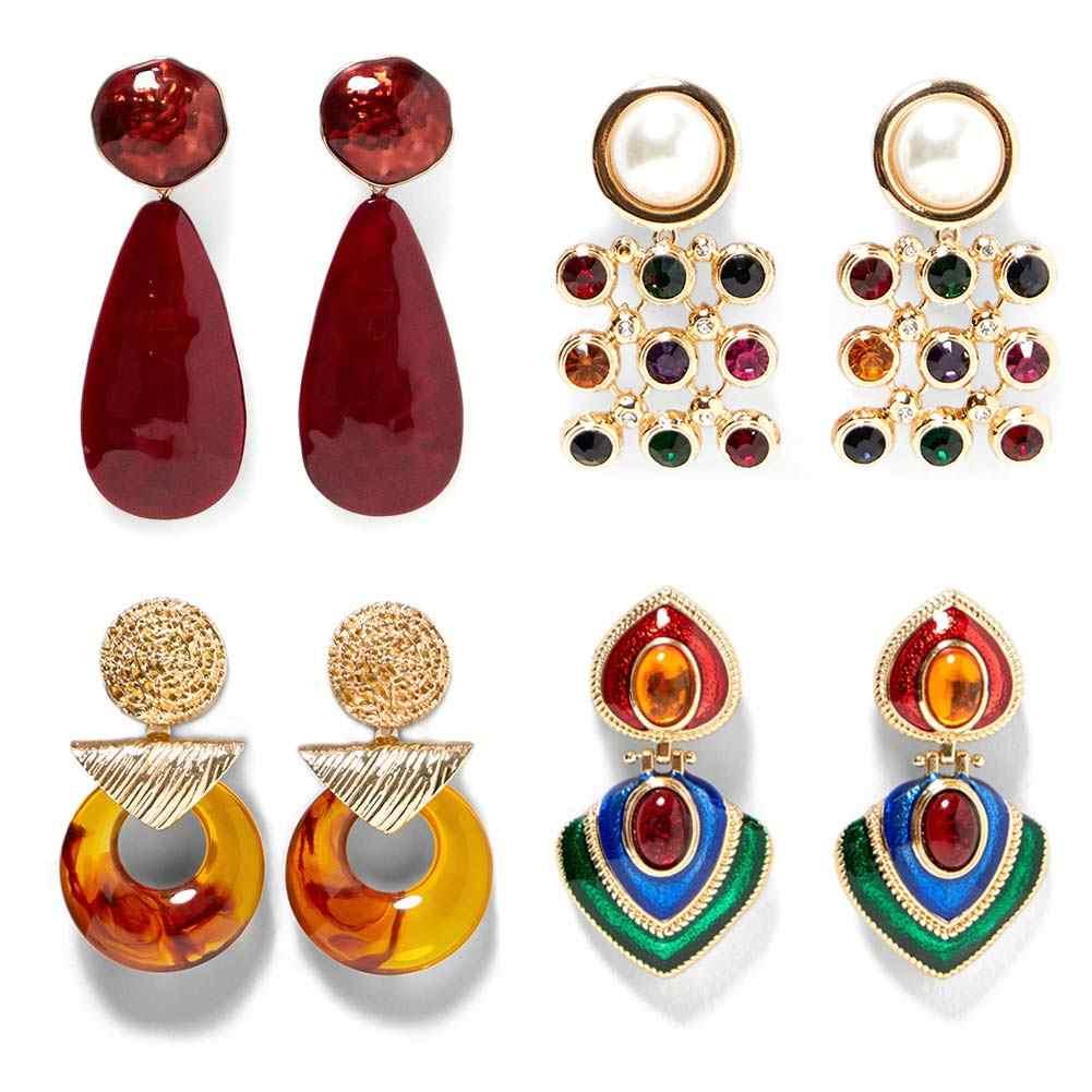 Flatfoosie Crystal Drop Dangle Earrings For Women ZA Fashion Resin Geometric Statement Earring Gold Color 2018 Wedding Jewelry
