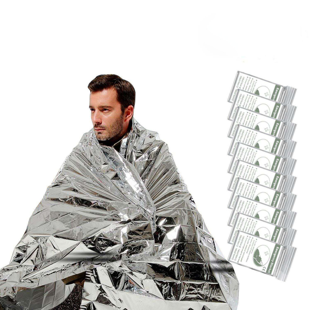 10 PACK Emergency Thermal Body Heat Rescue Blanket Survival Safety Mylar