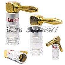 12 peças 24 K Banhado A Ouro Em Ângulo Recto Nakamichi plugue banana para cabos até 6 mm2 Locking screw bannana plugue