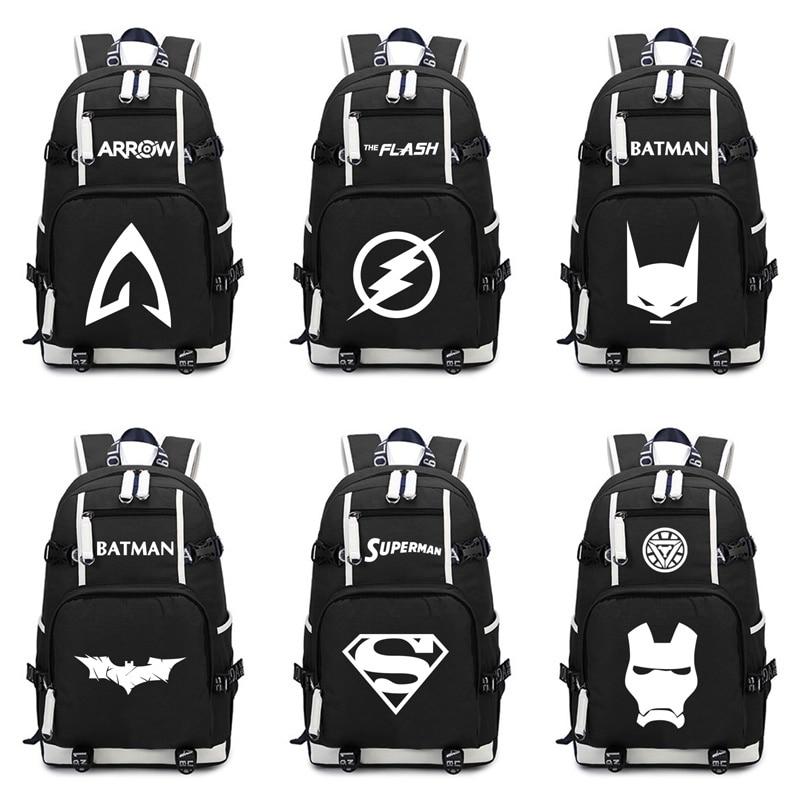 Superhero bakcpacks Batman Superman Backpacks The Flash Iron Man Arrow Schoolbag Boys Girls Laptop Backpack Women Men Travel Bag