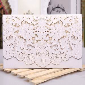 25pcs Rustic Wedding Supplies Red White Vintage Luxurious Elegant Golden Laser Cut Wedding Invitation Card 11 Styles