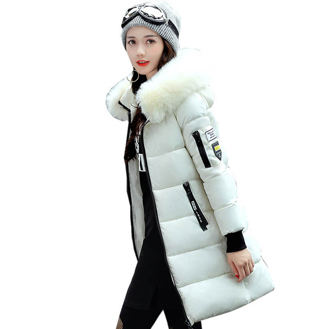 New 2018 Winter Jacket Women Cotton Coat Fur Collar Hood Parka Female Long Jackets Thick Warm Outerwear chaqueta mujer ST157 1