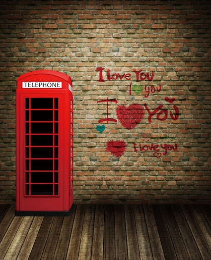 LIFE MAGIC BOX Photography Backdrops Wooden Floors. Booth, Red Brick Wall Red Letters Cm-5255