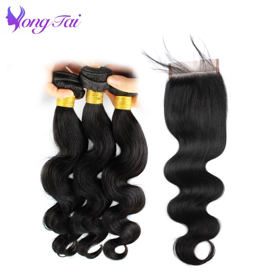 Yuyongtai Malaysian Body Wave Lace Closure 4Pcs Human Hair Bundles With Closure Swiss Lace Non Remy