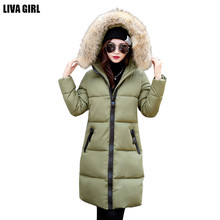 2016 winter down jacket women mid-long coat parkas thickening Female Warm Clothes fur collar hoody outwear