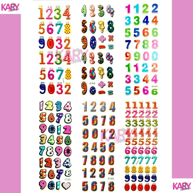6 Sheets Cute Kawaii Numbers Letter Symbol Scrapbooking Bubble